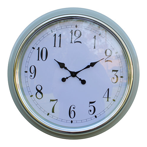 Large Silver Rimmed Wall Clock, Green, 56cm. Shipping furniture UK