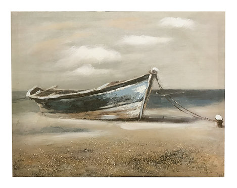 Wooden Boat Canvas - Blue Boat Shipping furniture UK