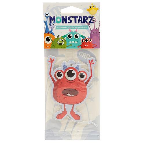 Red Monstarz Monster Strawberry Scented Air freshener [Pack of 2] Novelty Gift