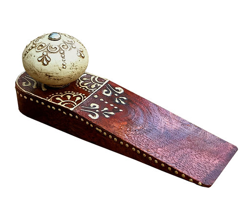 Red Doorstop With Wooden Knob Shipping furniture UK