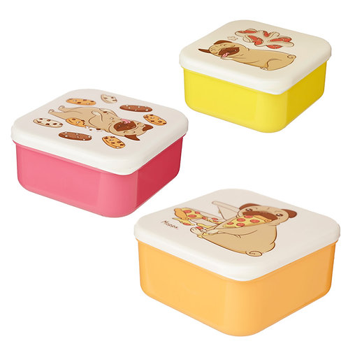 Pug Mopps Set of 3 Reusable BPA Free Plastic Lunch Boxes  Novelty Gift
