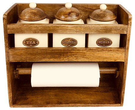 Kitchen Roll Holder With 3 Jars Shipping furniture UK
