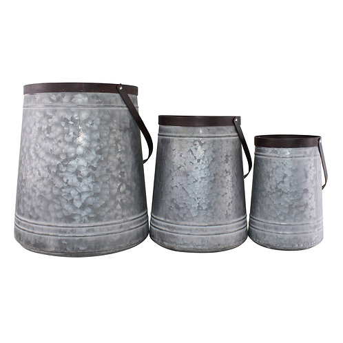 Set of 3 Bucket Style Metal Planters Shipping furniture UK