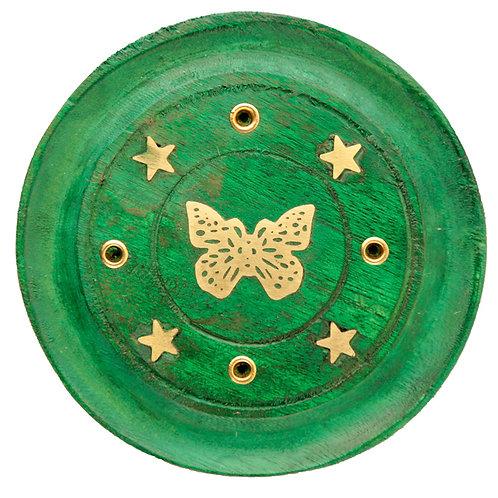 Decorative Butterfly Wooden Green Incense Burner Ash Catcher Novelty Gift