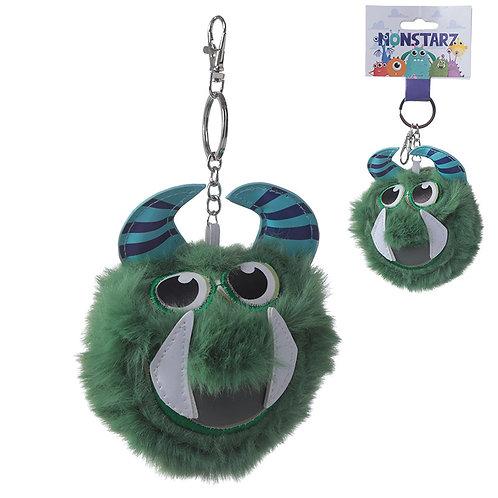 Fun Collectable Pom Pom Keyring - Green Monster Novelty Gift