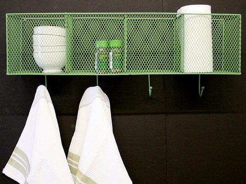 4  Basket and Hook Wall Unit Green Shipping furniture UK