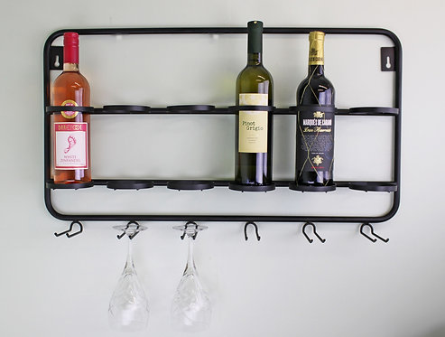 Wall Mounted Six Bottle And Wine Glass Holder Shipping furniture UK