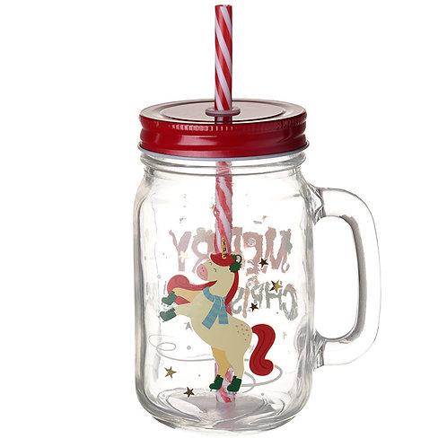 Christmas  Festive Unicorn  Drinking Jar