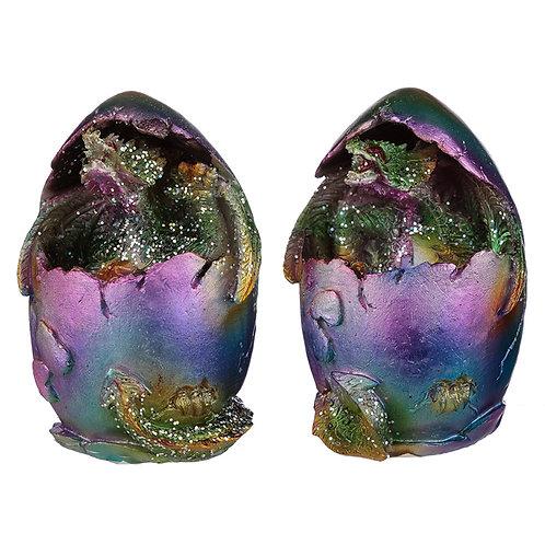 Hatching Egg Metallic Rainbow Dragon Figurine Novelty Gift