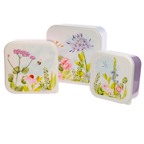 Botanical Gardens Set of 3 Plastic Lunch Boxes (M/L/XL) Novelty Gift