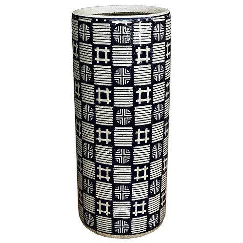 Dark Blue, Grey Squares & Circles Umbrella Stand Shipping furniture UK