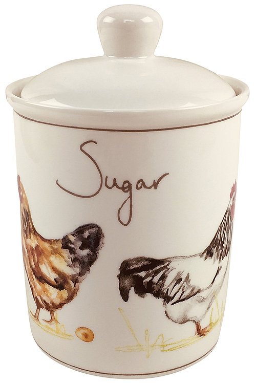 Country Chickens Ceramic Canister - Sugar Shipping furniture UK