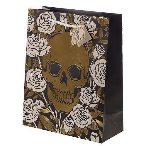Novelty Gift Skulls & Roses Metallic Large Gift Bag