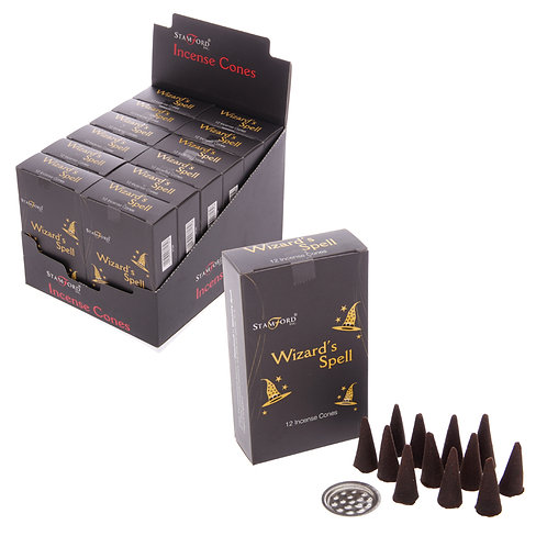 Novelty Gift Stamford Black Incense Cones - Wizards Spell