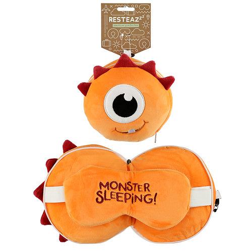 Monstarz Monster Orange Travel Pillow & Eye Mask Set Novelty Gift