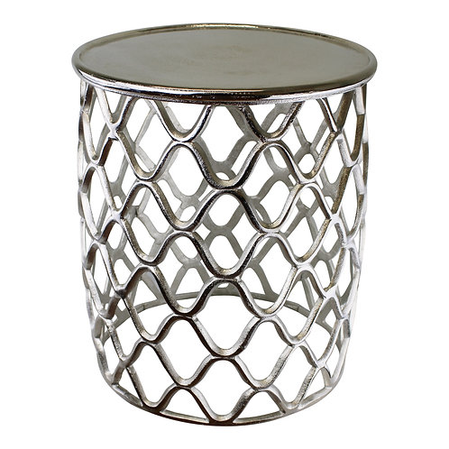 Decorative Silver Metal Side Table Shipping furniture UK