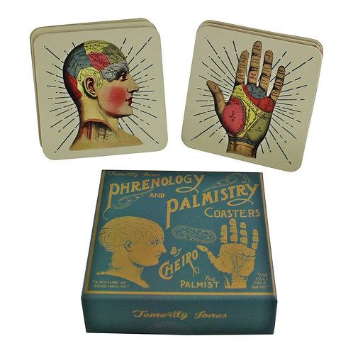 Set of 6 Phrenology & Palmistry Coasters Shipping furniture UK