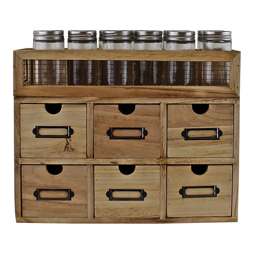 12 Jar Spice Rack With Bottles & 6 Drawer Cabinet Shipping furniture UK