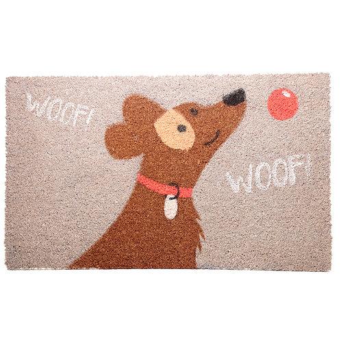 Coir Door Mat - Woof Woof Catch Patch Dog Design Novelty Gift