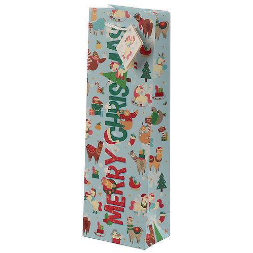 Christmas Festive Friends Animal Design Bottle Gift Bag Novelty Gift