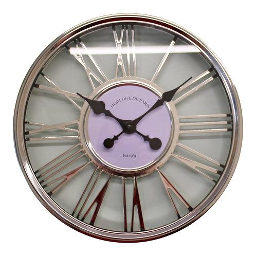 Large Silver Wall Clock 45cm Shipping furniture UK