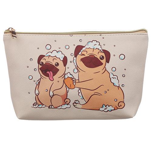 Medium PVC Make Up Toiletry Wash Bag - Mopps Pug Novelty Gift