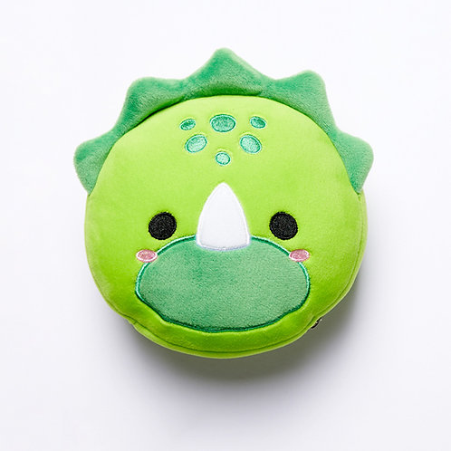 Cutiemals Dinosaur Plush Round Travel Pillow & Eye Mask Set Novelty Gift