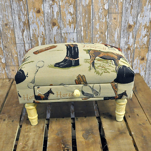 Equestrian Footstool with Drawer Shipping furniture UK