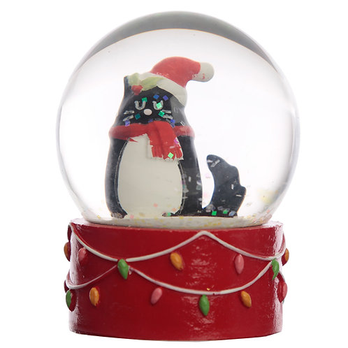 Collectable Chritmas Feline Festive Cat Snow Globe Waterball Novelty Gift