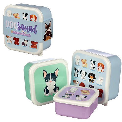 Cute Dog Squad Design Set of 3 Plastic Lunch Boxes Novelty Gift