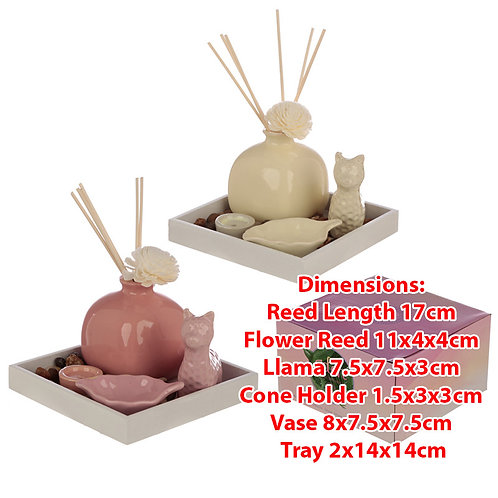 Novelty Llama Diffuser, Incense & Candle Holder Gift Set