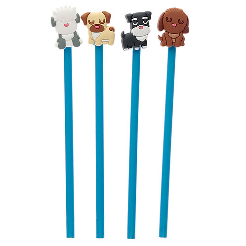 Cute Dog Squad Novelty Pencil with PVC Top [Pack of 2] Novelty Gift