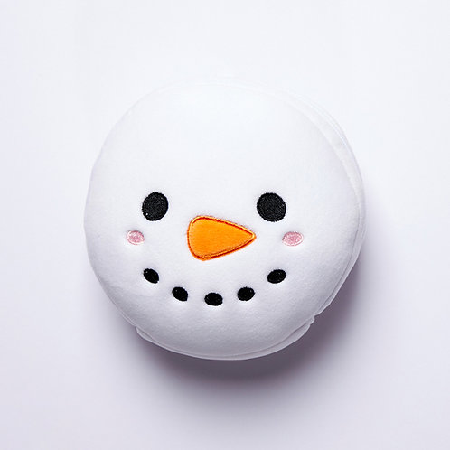 Christmas Snowman Plush Round Travel Pillow & Eye Mask Set Novelty Gift