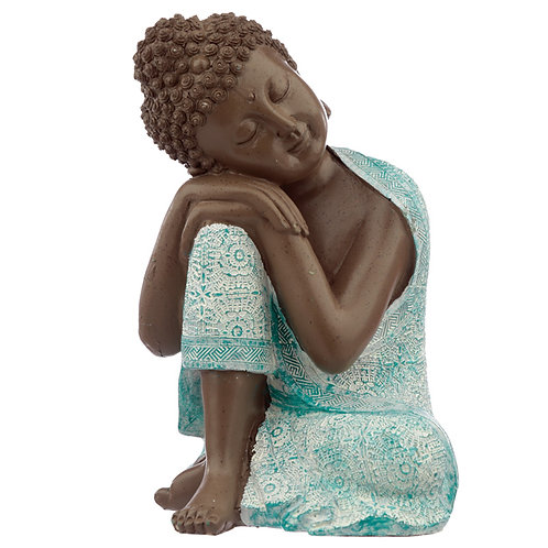 Decorative Turquoise & Brown Buddha Figurine - Contemplation Novelty Gift