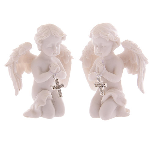Cute Praying Cherub Figurine Holding Jewelled Silver Cross [ONE] Novelty Gift
