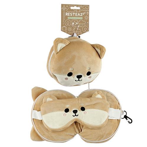Shiba Inu Dog Relaxeazzz Plush Round Travel Pillow & Eye Mask Set Novelty Gift