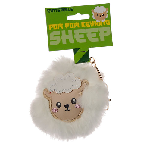 Fun Collectable Pom Pom Keyring - Cutiemals Sheep Novelty Gift