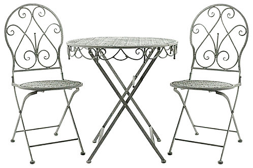 Lead Colour Round Table And 2 Chairs 74cm Shipping furniture UK