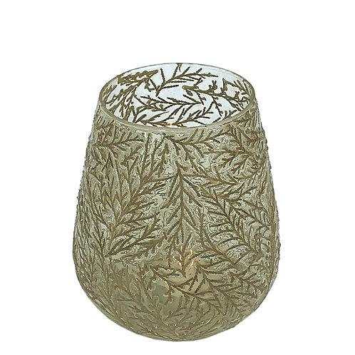 Glass Leaf Tea Light Holder Shipping furniture UK