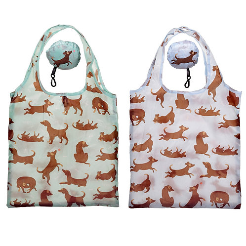 Handy Fold Up Catch Patch Dog Shopping Bag with Holder Novelty Gift