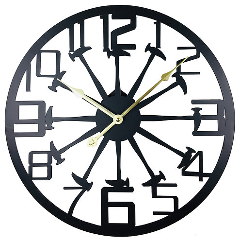 Black Metal Hammer Cut Out Wall Clock 40cm Shipping furniture UK