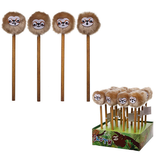 Cute Sloth Pencil with Fluffy Topper Novelty Gift [Pack of 2]
