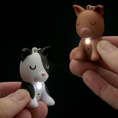 Cute Light and Sound Dog Squad Keyring Novelty Gift