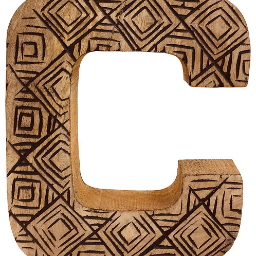 Hand Carved Wooden Geometric Letter C Shipping furniture UK