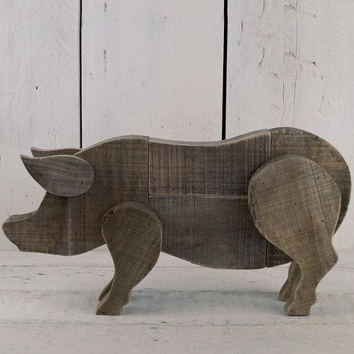Driftwood Shaped Pig 40cm Shipping furniture UK