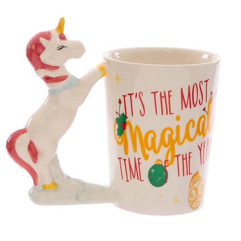 Ceramic Unicorn Christmas Shaped Handle Mug Novelty Gift