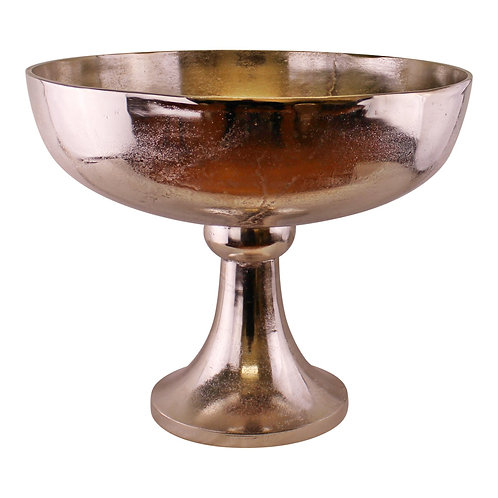 Silver Metal Bowl On Stand, 42x35cm Shipping furniture UK