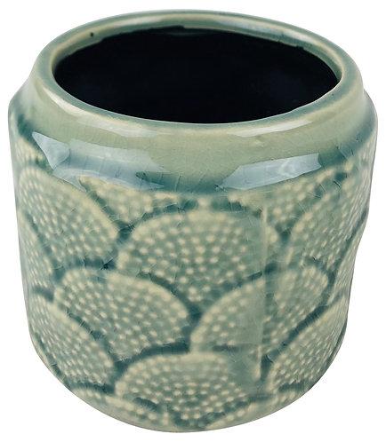 Blue Ceramic Textured Vase 11.5cm Shipping furniture UK
