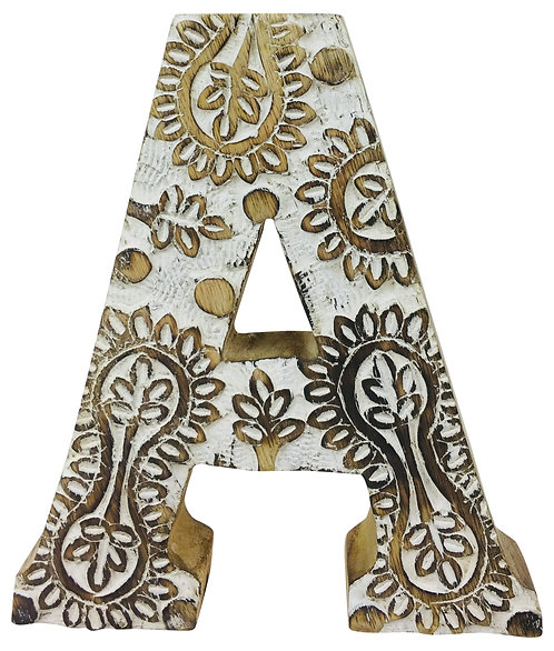 Hand Carved Wooden White Flower Letter A Shipping furniture UK