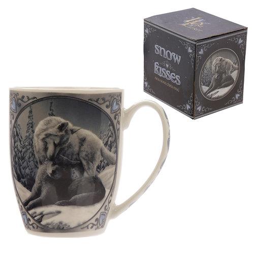 Snow Kisses Wolf Design Lisa Parker Porcelain Mug Novelty Gift